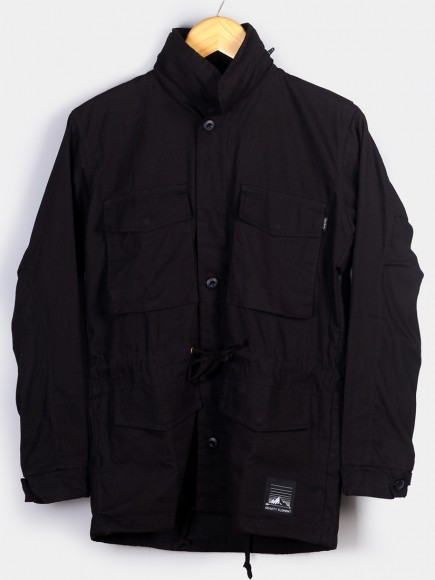 BLACK 'OSLO' CANVAS PARKA